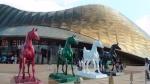 Außerdem gibt es Kamele und Pferde. Die Wartezeit beträgt ca. 3 Stunden und auf dem Endspurt darf man sich auf Steinblöcke setzen, nur dass sie wahnsinnig heiß sind.
