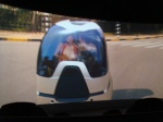 """Der Film, in dem es um das Leben von 2030 geht. Dieses """"Auto"""" kann man auch in der Ausstellung als Modell sehen."""