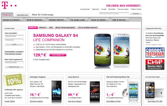 Bei T-Mobile hat das HTC One nicht mehr auf die eigentliche Seite gepasst.