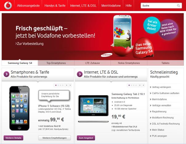 Bei Vodafone ist das HTC One überhaupt nicht mehr auf der Startseite zu finden.