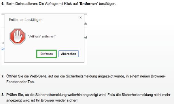 browsersicherheit.info gibt eine Anleitung zum Deinstallieren von Adblock